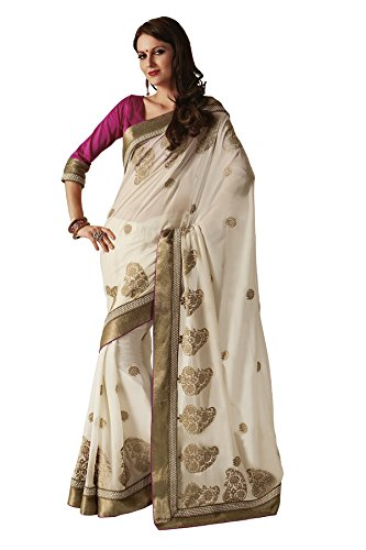 Subhash Sarees Off White Chiffon Varanasi Saree