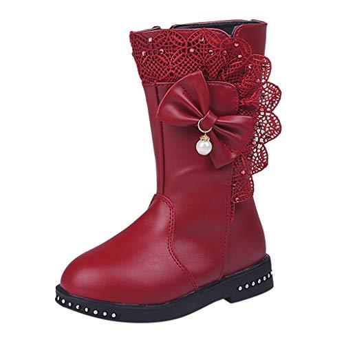 Precioul Mädchen großer Junge einfarbig Plus samt warme Perle Bogen Spitze seitlicher Reißverschluss Stiefel Schneeschuhe Stiefel qualitativ hochwertige - Bögen Kostüm Stiefel
