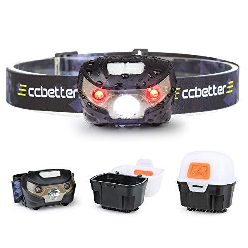 Lampada Frontale USB, ccbetter Torcia LED Ricaricabile Luce Testa, per Campeggio Lettura Pesca Runners Sport Escursioni DIY e camminare (cavo USB + Light box)