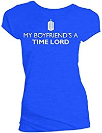 Doctor who my boyfriends a time lord t-shirt juniors bleu