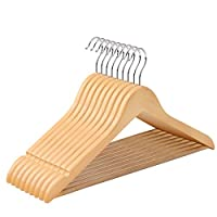 SONGMICS Hangers - Wooden Clothes Hangers Pack of 10 Wood Coat Suit Hangers Non slip Trouser Bar, 360° Swivel Hooks, Natural/White