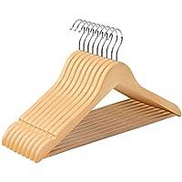 SONGMICS Kleiderbügel - 10 Stück aus Holz, Ohne Kanten, mit Rutschfestem Steg, 360 ° drehbarer Haken, Natur CRW001-10