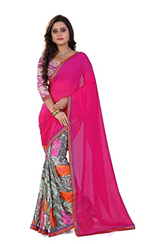 Saree Shree laxmi creations Womens Chiffon HALF & HALF RANI color Saree With Blouse Piece NEW color