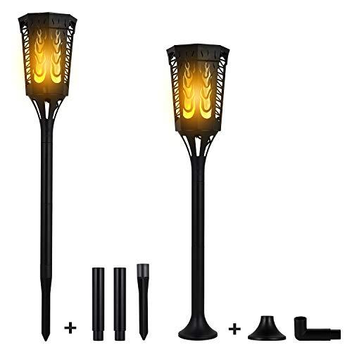 2 Stück solarfackeln für außen, Solar Flammen Fackel Solarfackeln Solar Gaetenlwuchten Außen Landschaft Dekoration Gartenlampe Beleichtung