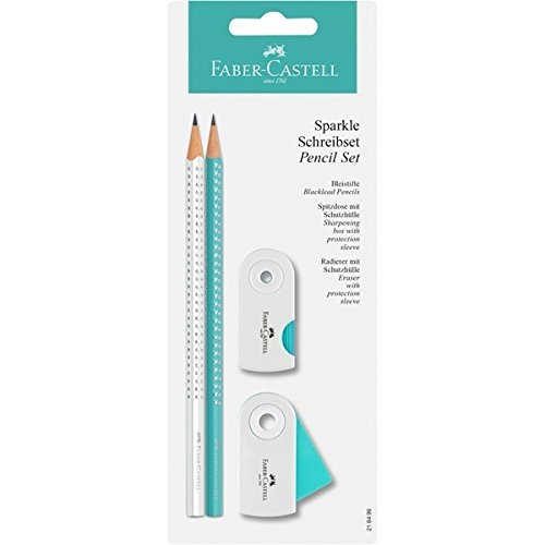 Faber-Castell 218499 - Bleistiftset GRIP SPARKLE, 4-teilig, weiß-türkis