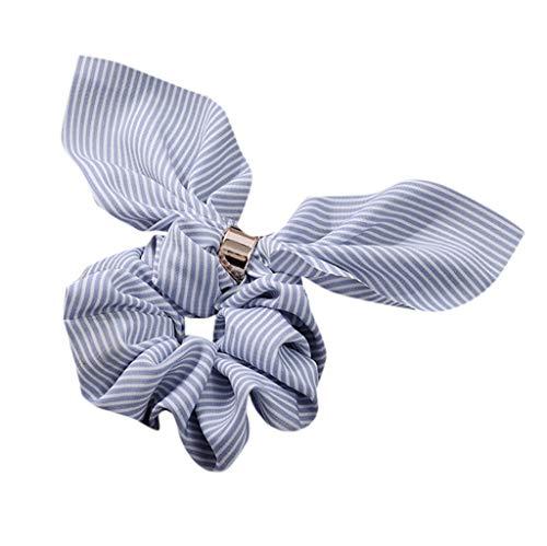 Dorical Hasenohren Haarband Zubehör für Frauen Mädchen Elegante Elastische Süß Haarbänder Vintage Schachtelhalm Halter Seil Haarschmuck Ausverkauf(Blau)
