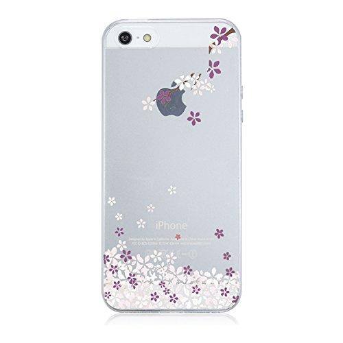 Qissy®TPU Cover iPhone 5/5S/SE Case marche popolari Anti-scratch Gel Silicone Custodia Bella Cherry Plum 7