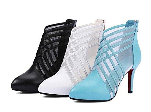 PBXP Point-Straps Scarpin Organza Frauen Casual Work Party Elegante Sandalen Europa Weiß Schwarz Hellblau Größe 34-39 White