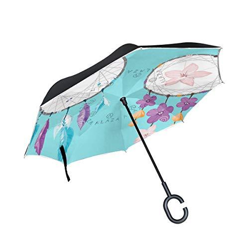 XiangHeFu - Paraguas invertido de Doble Capa, 2 atrapasueños, diseño de Flores, Plegable, Resistente al Viento, protección UV, Gran Recto, para Coche, con Mango en Forma de C