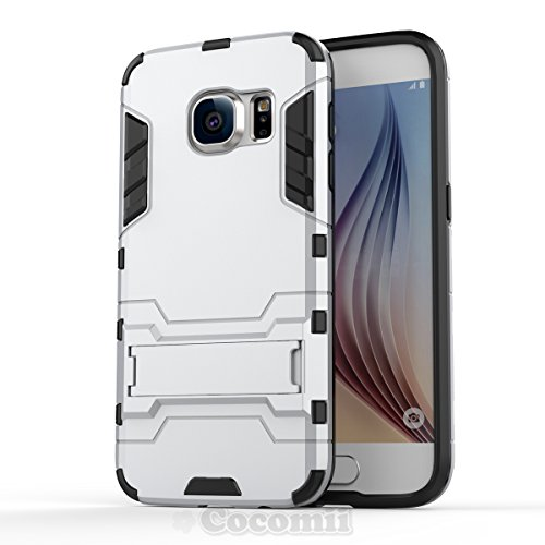 Galaxy S7 Funda, Cocomii Iron Man Armor NEW [Heavy Duty] Premium Tactical Grip Kickstand Shockproof Hard Bumper Shell [Military Defender] Full Body Dual Layer Rugged Cover Case Carcasa (Silver)