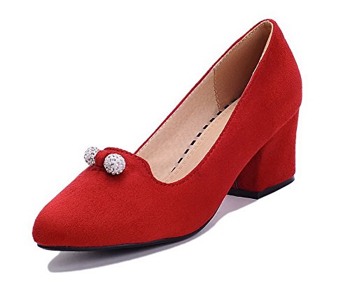 AgooLar Femme à Talon Correct Couleur Unie Tire Dépolissement Pointu Chaussures Légeres Rouge