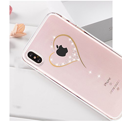 Cover the iPhone X Ultra Slim, Custodia per iPhone X, Bonice Ultra Slim Diamante Bling Glitter Lusso Cristallo Strass Morbida Rubber Bumper 360 Gradi TPU Gel Silicone Morbido Corona Case Cover e Cingh Model 02