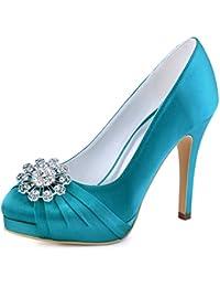 Elegantpark EP2015-PF Mujeres Bombas Punta Cerrada Zapatos Plataforma  Zapatos Tacón Alto Rhinestones Satén Wedding 168d245be18e