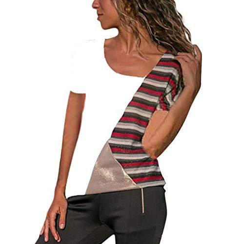 e892292cc95cda Fannyfuny Damen Casual Leopard Patchwork Farbblock Langarm T-Shirt  Asymmetrischer V-Ausschnitt Langarmshirt Tops Sweatshirt Tunika Top  Pullover Bluse ...