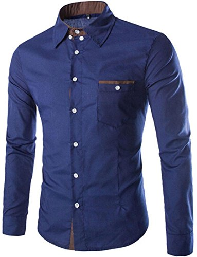 Jeansian Hommes Mode Chemise Slim Fit Classique Mens Casual Fashion Shirt 8749 Navy