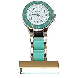uWANTit 2 tone Green & Silver Nurses Paramedic Doctors Fob Watch