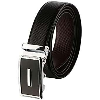 Labnoft Men's PU Leather Belt with Automatic Buckle, Black, Free Size