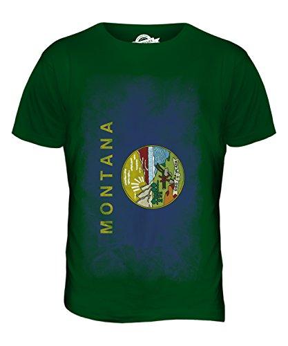 CandyMix Bundesstaat Montana Verblichen Flagge Herren T Shirt Flaschengrün