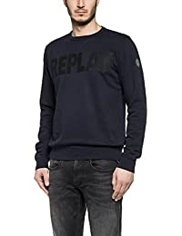 Replay Homme Logo Sweatshirt Stamp, Bleu