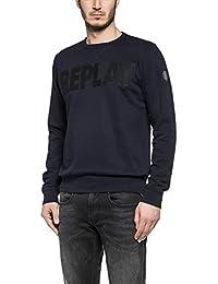 Replay Men's Men's Blue Sweatshirt With Print In Size M Blue