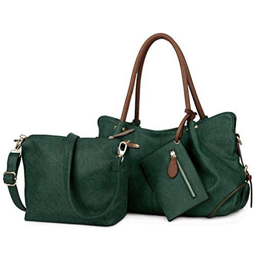 UTO Damen Handtasche Set 3 Stücke Tasche PU Leder Shopper klein Schultertasche Geldbörse Trageband Grün (Grün Leder Mitte)