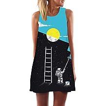 62273f1898 MOMOXI Vestidos para Mujer Mini Vestido Corto Estampado de Playa sin Mangas  de Verano para Mujer