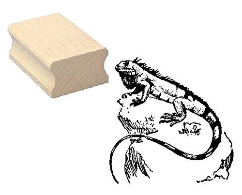 Stempel Holzstempel Motivstempel « LEGUAN auf STEIN » Scrapbooking - Embossing Kinderstempel Tierstempel Terrarium Echsen Kriechtier Zoo Tierpark
