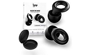 Loop Quiet Tapones para Oído Antiruido - 6 Tapones de Silicona Suave Reutilizables para Silencio y Protección Auditiva - Redución de Sonido en 30dB - Para Dormir, Viajar, Conciertos - Negro Esencia