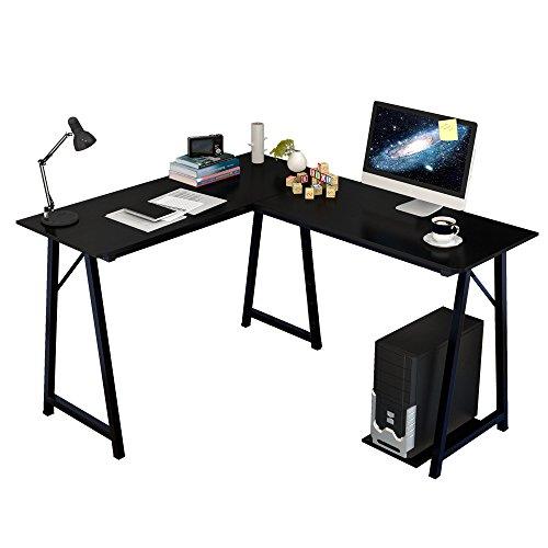 Soges Mesa ordenador Gran escritorio de esquina Moderna L(120+90) * W48 * H75 cm Escritorio para Oficina Escritorio, 701T-BK Negro
