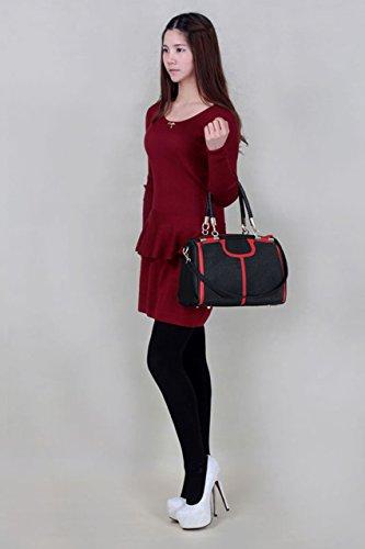 TrendStar Femmes Satchel Concepteur De Sacs À Main Des Dames De Mode Tote Épaule Faux Cuir Style Célébrité Noir/Rouge