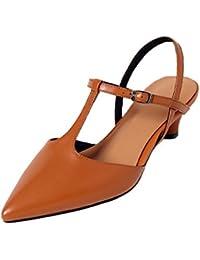 KJJDE Sandalias Mujer Zapatilla Chanclas WSXY-L0307 Hebilla de Cinturón Delicada Confort Tacón Zapatos Para Caminar