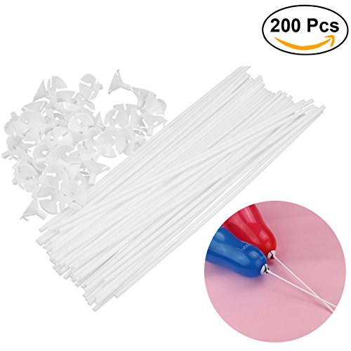 Tinksky 200pcs globo palos con copas titular de globo para el banquete de boda decoración 32 cm palos 3 cm tazas (blanco)