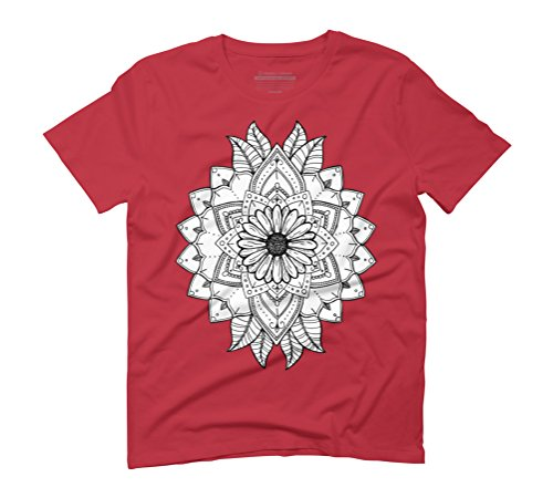 Daisy Flower Mandala Men's Graphic T-Shirt - Design By Humans Red