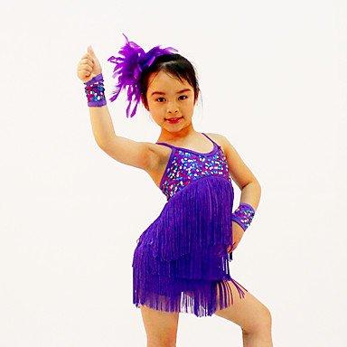 Latintanz Aufführung-Kleider(Purpur Rot Gelb,Pailletten Elastan,Cheerleader-Kostüme Latintanz Aufführung) - fürDamen , ma (Gelbe Cheerleader-outfit)