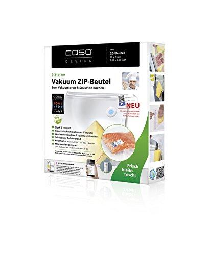 Caso Zip-Beutel, 20 Stück für Caso Geräte mit speziellen Vakkum-Adapter, Kochfest, Mikrowellen und Sous Vide geeignet, 20 x 23 cm