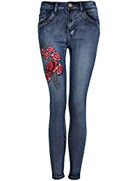 PILOT® floral jeans brodés maigres en difficulté