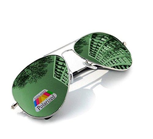 4sold Jungen Polarized Sonnenbrille Kids in vielen Farbkombinationen Klassische Unisex Sonnenbrille (Silver Frame Green Polarized Mirror)
