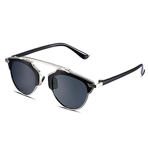 HMILYDYK Women's Cateye Sunglasses Retro Polarized Mirrored Lens Modern Fashion Metal Frame UV400 Eyewear Glasses