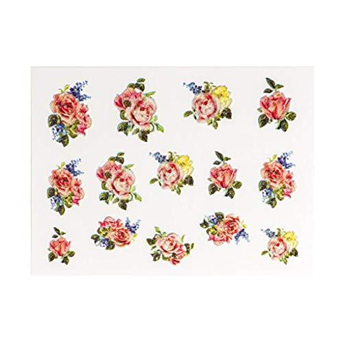 MA87 Nagel-Aufkleber 5D Nagel Kunst Transfer Sticker Blume Blatt geprägte DIY Decals Maniküre Dekoration (P) -