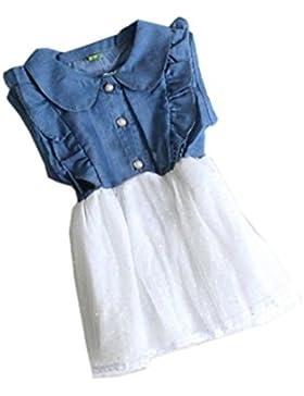 Amlaiworld Vestito per bambini,Vestito carino principessa stile denim abito