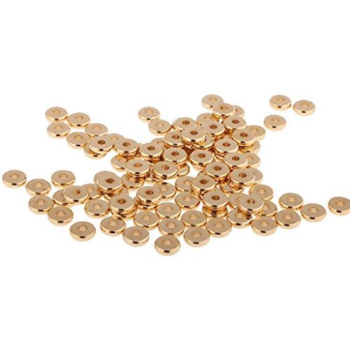 Gazechimp 100pcs Feste Messingscheibe Metall Spacer Perle Zwischenperlen Metallperlen - 8mm -