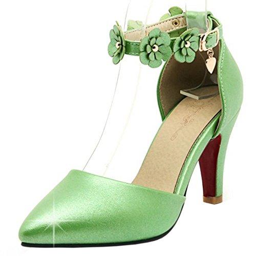 Fiori Fascia Verdi Donna Società Della Taoffen Tacco Cinghia Alta Moda Sandali Di wvqWFBX