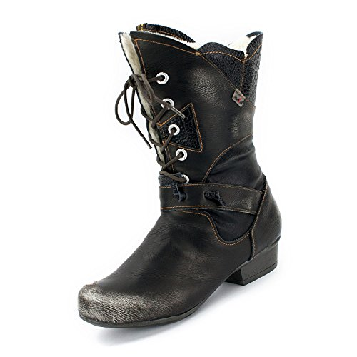 TMA Damen Winter-Stiefel, Perlschwarz - 39 (Schuhe Designer Stiefel)