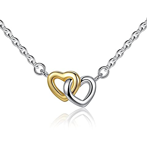 BAMOER 925 Sterling Silver Collection Two Tone Open Linked Heart Pendant Women Fine Jewelry Necklace 18 inches
