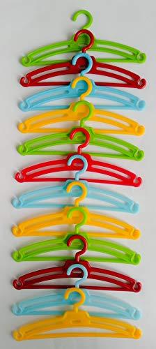 Folk Artesanía Lote 12 Perchas para Nancy Famosa en Color Rojo, Azul, Amarillo y Verde. Válido para Sintra, Noa, Barbie