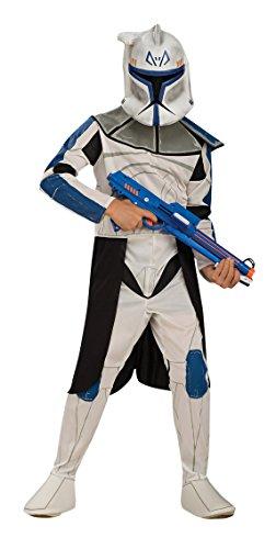 KULTFAKTOR GmbH Star Wars Clonetrooper Captain Rex Kinder Kostüm Lizenzware Weiss-blau-schwarz 128/140 (8-10 Jahre) (Captain Rex Star Wars Kostüm)