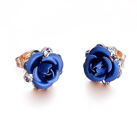 Yoursfs Boucles d'oreilles bleu 18k plaqué or Solitaires en Zirconium forme de fleur pour Femme (Cuore Rosa Orecchini)