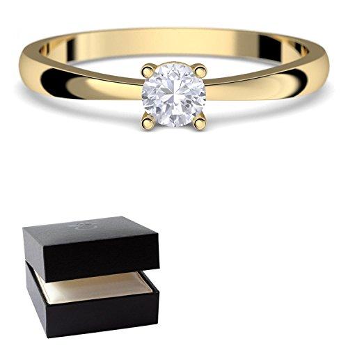 Verlobungsringe Gold 333 *** GRATIS LUXUSETUI *** Goldring 333er Gold Ring echt von AMOONIC mit SWAROVSKI Zirkonia Stein Goldring Gelbgold wie Verlobungsring Diamant Ring Gold Solitär FF385GG333ZIFA52 (Echter Diamant Ringe Für Damen)