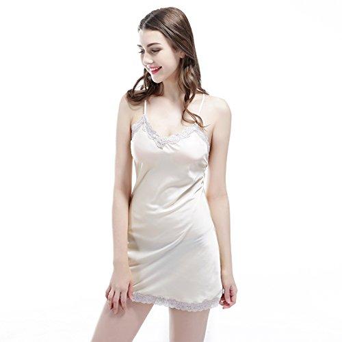 PPOJAS Schlafanzug Sleeveless Sommer-Art-junge Mädchen-Nachthemden Spitze-Satin-Frauen-Sleeper Nachtwäsche für weibliche heiße Einzelteile, Champagne, M (Stoff Sleeper)