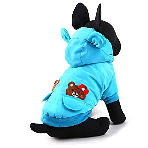 Moolecole Pet Costume Christmas Winter Thickening Dog Padded Clothes Teddy Apperal Blue XXS